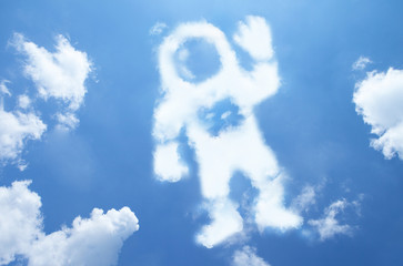 astronaut cloud shape on blue sky.
