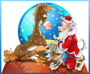 A 2018 year of the dog New Year postcard. Santa leaves the moon to bring New Year to the Earth> As the new year is the year of the dog, he takes a dog with him. The horse is surprised that it is not t