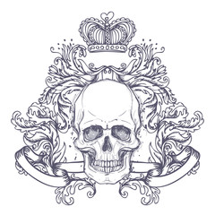 Gothic coat of arms with skull. Vintage label. Retro vector design graphic element. Hand drawn line art. Victorian tattoo template. Isolated vector illustration, design element.