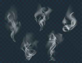 Vector set of realistic smoke, isolated transparent illustration