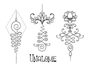 Lotus and Sacred Geometry. Unamole hindu symbol of wisdom and path to perfection. Set of tattoo flesh, yoga logo, Buddhism design. Boho print, poster, t-shirt textile. Isolated vector
