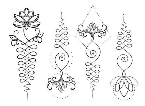 Lotus and Sacred Geometry. Unamole hindu symbol of wisdom and path to perfection. Set of tattoo flesh, yoga logo, Buddhism design. Boho print, poster, t-shirt textile. Isolated vector