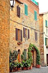 Scorcio del borgo medievale di Pienza in Toscana Italia