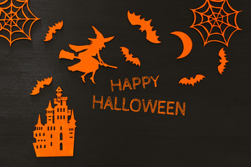 Halloween holiday concept top view scene