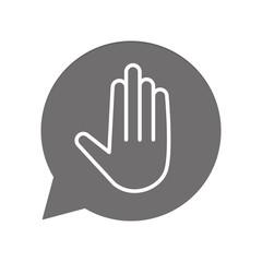 Graue Sprechblase rund - Handzeichen