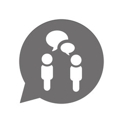Graue Sprechblase rund - Personen sprechen - Kommunikation