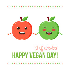 Happy vegan day card with two funny apples.