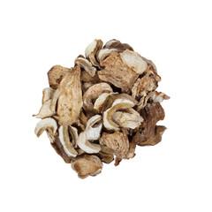 Dried porcini mushrooms isolated on white background