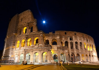 Colosseum night view  (full moon). Rome,Italy.