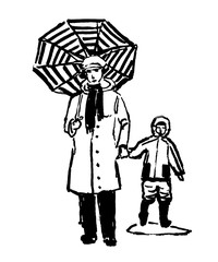 drawing of a comic grandmother walking with her grandson in the rain, sketch of hand-drawn ink vector illustration
