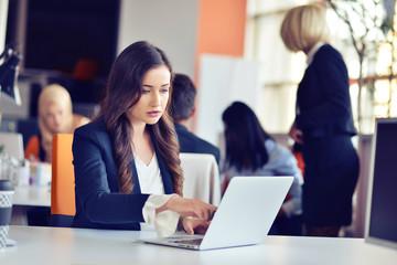 Beautiful brunette using notebook in office