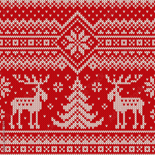 63eeab8a3 Winter Holiday Seamless Knitted Pattern with a Christmas Trees and ...