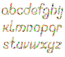 colorful English alphabet consisting of butterflies of different colors