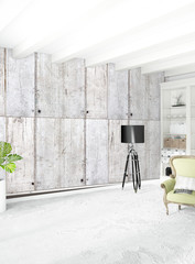 White empty bedroom minimal style Interior design with wood wall and copyspace. 3D Rendering.