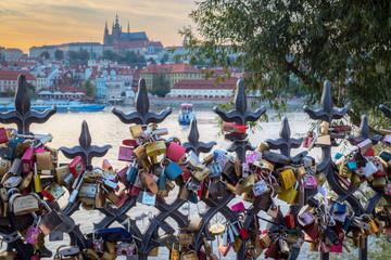 Love padlocks in Prague