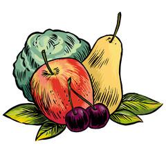 Apfel Birne Kirschen Gemüse