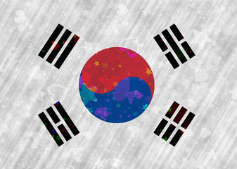 Korean Flag with heart and star motives