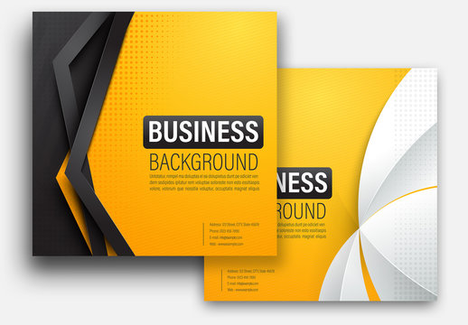 Set of Yellow Square Presentation Layouts