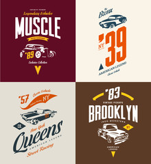 Vintage hot rod, muscle car and pickup vector tee-shirt logo isolated set.