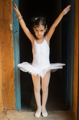 Little ballerina practicing before a rehearsal
