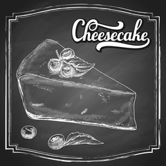 Hand drawn cheesecake piece with berries and leaves, black and white draft sketch isolated on chalkboard background. Vintage vector illustration.