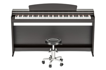 Digital piano, 3D rendering