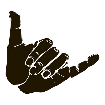 Black silhouette realistic shaka hand gesture icon graphic