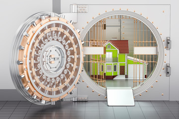 Home inside bank vault. House security and protection concept, 3D rendering