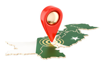 Map pointer on the map of Pakistan, 3D rendering