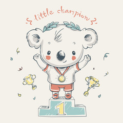Cute koala bear sports champion cartoon hand drawn vector illustration. Can be used for baby t-shirt print, fashion print design, kids wear, baby shower celebration greeting and invitation card.