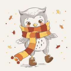 Cute little owl wearing a scarf cartoon hand drawn vector illustration. Can be used for baby t-shirt print, fashion print design, kids wear, baby shower celebration greeting and invitation card.