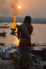 Great puja in the city of Varanasi, November 2015. India, the Ganges River embankment