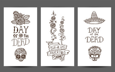 Dia de los Muertos or Day of the Dead hand sketched doodles - set of 3 design templates