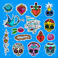 Dia de los Muertos or Day of the Dead stickers