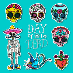 Day of the Dead hand drawn stickers