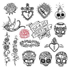 Dia de los Muertos or Day of the Dead hand sketched doodles