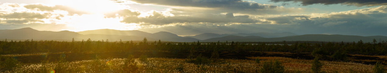 Sunset in the mountains of Khibiny, Kola Peninsula , Russia.
