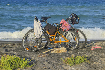 Two bicycle at the beach