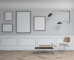 Interior design simple scene with frames. 3d modern scandinavian interior. 3d render studio. Interior design.