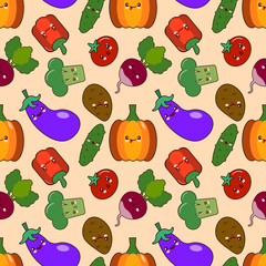 vegetable seamless patterns kawaii characters. Flat design Vector Illustration