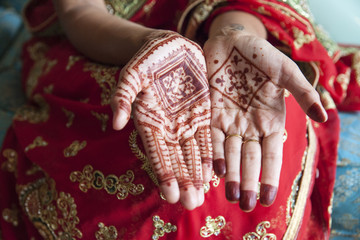 hands with traditional henna designs