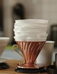 Closeup of drip filter coffee brewing setup