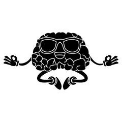 Cute brain meditating cartoon icon vector illustration graphic design