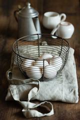 white eggs on a meta basket