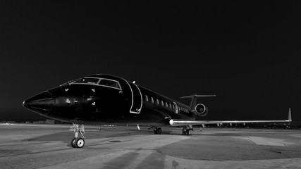 business jet. plane is parked Wall mural