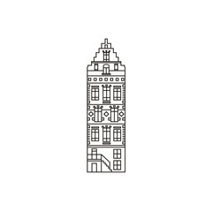 Classic holland house vector illustration on isolated white background, the sample of european architecture in linear style. Graphic and web design template of dutch house.