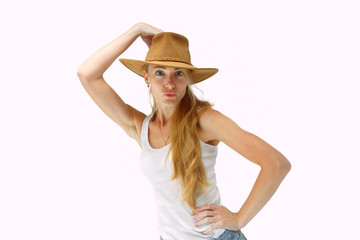 Young lady in cowboy hat