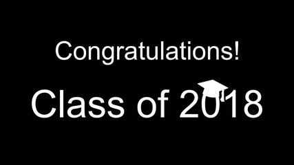 Congratulations Class of 2018 white on black banner