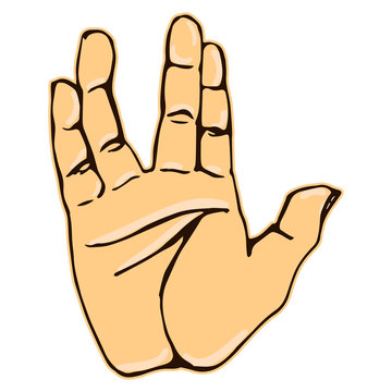 Realistic salute vulcan hand gesture icon graphic