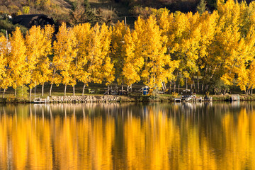 Fall colors reflecting in a lake